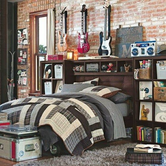 Traditional boys room decor ideas 2015, creative headboard with storage shelves