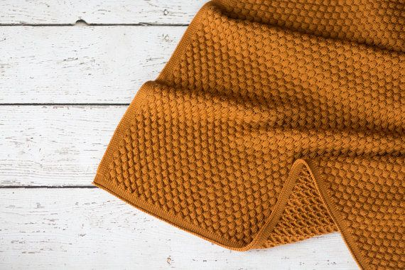 Hand Knit Pom Pom Baby Blanket Rust or Browns.