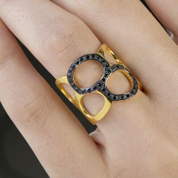 Γυαλισμένο Κύκλοι Μινιμαλιστική Ring, Μαύρο Κυβικά Ζιρκονία, Ανοιχτό δαχτυλίδι, μαύρο ρόδιο, 925 Στερεά Sterling Silver, 18K Επίχρυσο