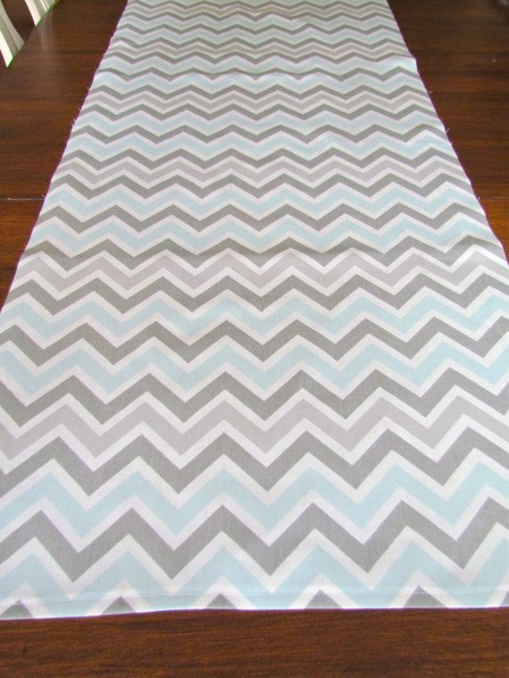 TABLE RUNNER Grey Blue top Wedding Shower 13 x 72  Chevron Table Runners Holiday Party Table Cloth Decorative missoni baby Shower. $26.95, via Etsy.