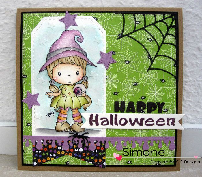 """This """"Little Witch Lucy"""" will steal your heart and your candy when you create this Halloween card.  All stamps and punches are by CC Designs.  Love the spider's web in the corner and the drippy purple goop.  Handmade card."""