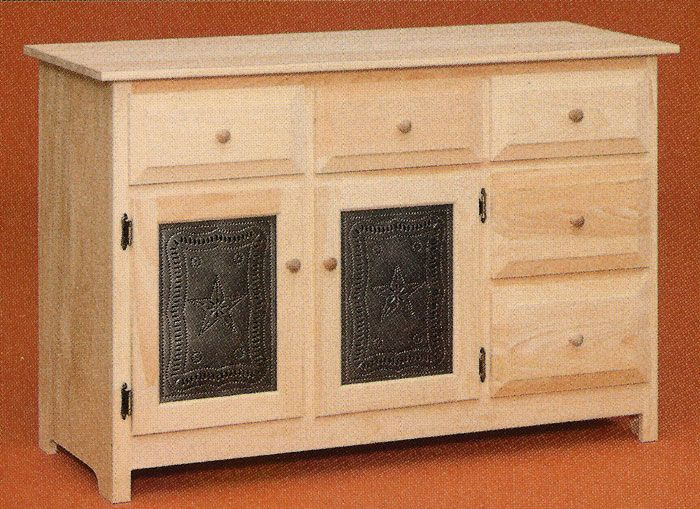 Unfinished Pine Furniture with Punchd Tin Panels