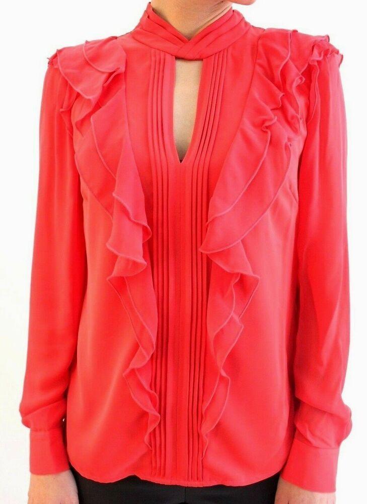 50a582b3772ea Karen Millen Coral Ruffled Frill Formal Shirt Office TY085 Blouse Top 8 36  New  KarenMillen  Blouse  Formal