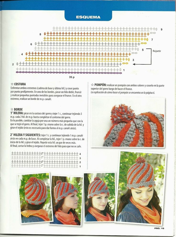 105 best gorros images on Pinterest | Hats, Crochet patterns and ...