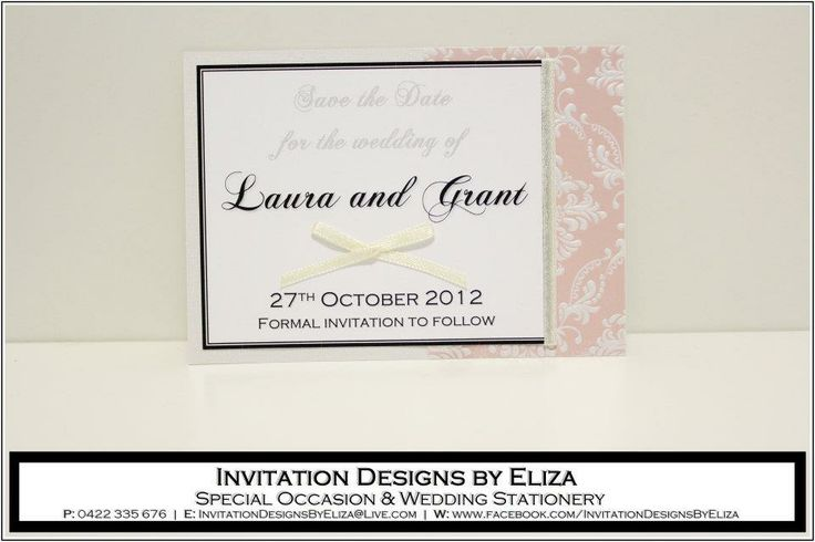 Save the Date Designs  {Wedding} Pale Pink, Pale Yellow & Pearl Theme www.facebook.com/InvitationDesignsByEliza