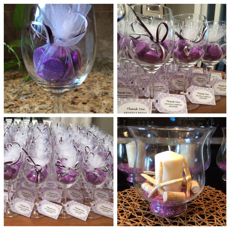 wedding ideas for beach theme bridal shower purple favors centerpiece wine and 27775