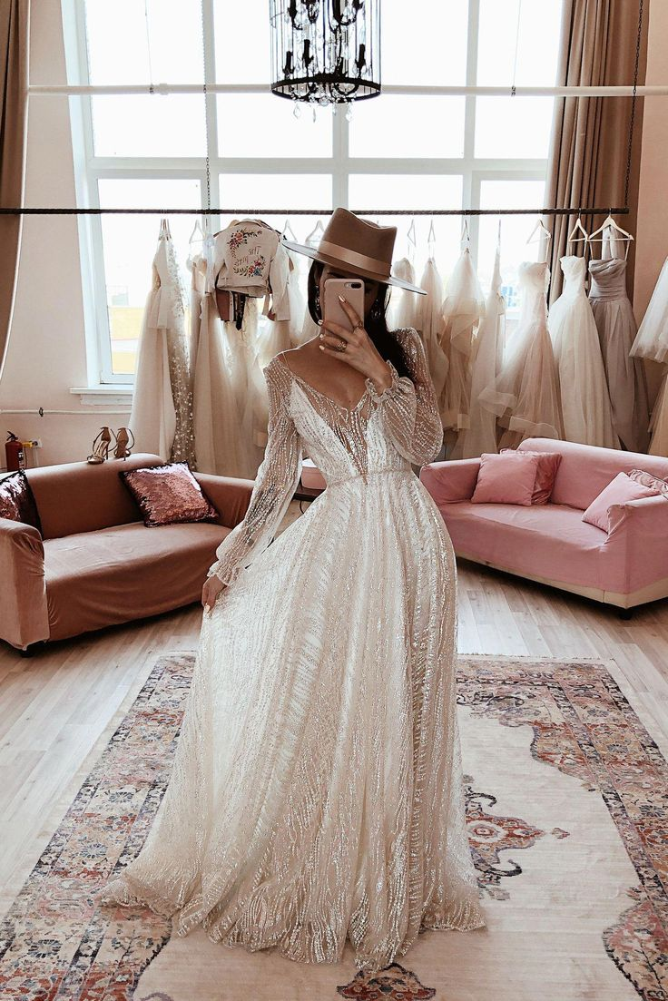 Galaxy by boom blush sparkly lace wedding dress with