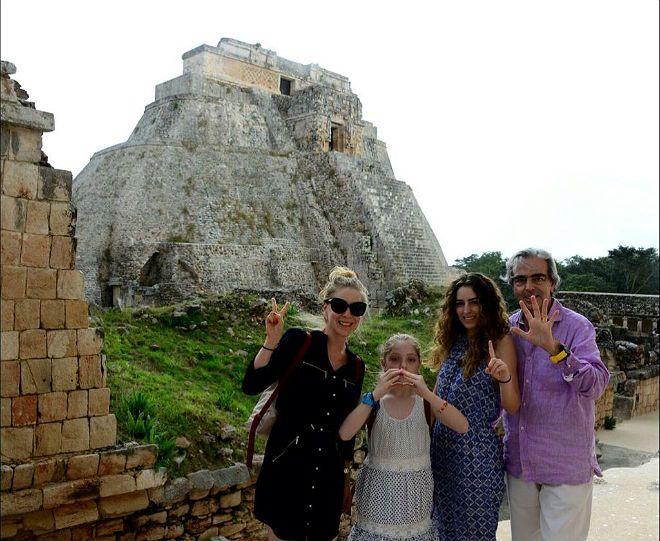 Edith González, Lorenzo Lazo y sus hijas, mágicas vacaciones en familia en Yucatán