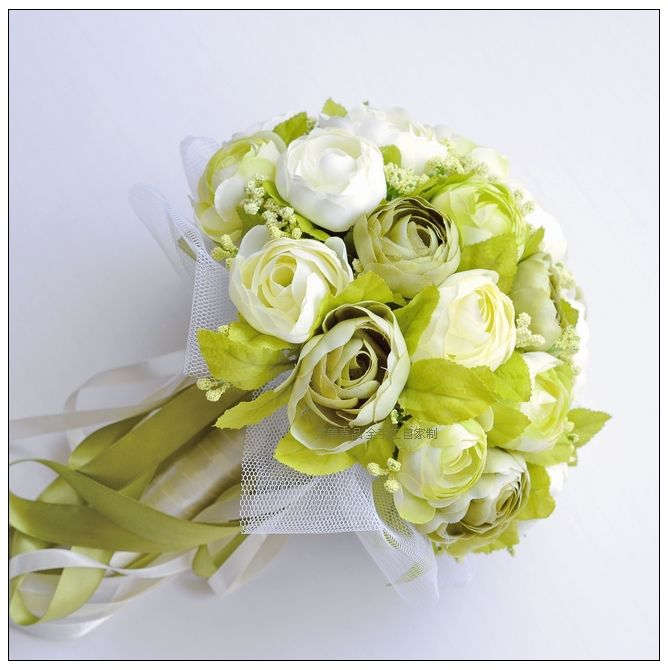 Green Series Wedding Bouquets Beautiful Camellia Matching Green and White Bride Holding Flower Bridesmaid Bouquet