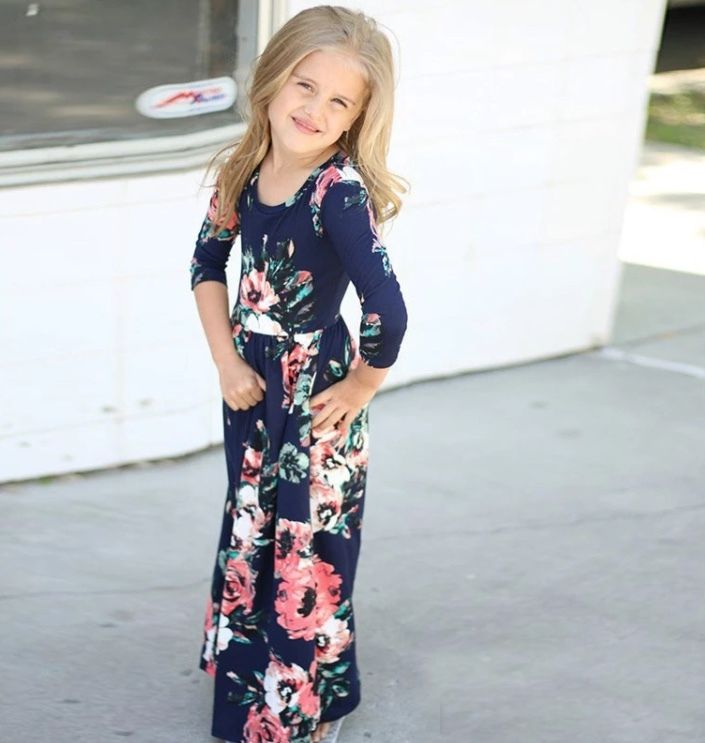 Girl Clothing, Girls Navy Blue and Floral Maxi Dress, Girls Maxi Dress, Toddler Maxi Dress, Floral and Navy Blue Maxi Dress, Maxi Dress - BellaPiccoli