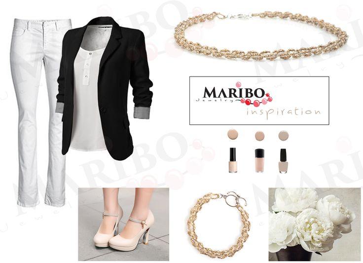 Fashion Moodboard MARIBO Jewelry | white black beige| handmade beaded jewelry | herringbone stitch, peyote, Toho beads, spiral rope, netted, Russian Spiral, bracelet, jewelry, necklace