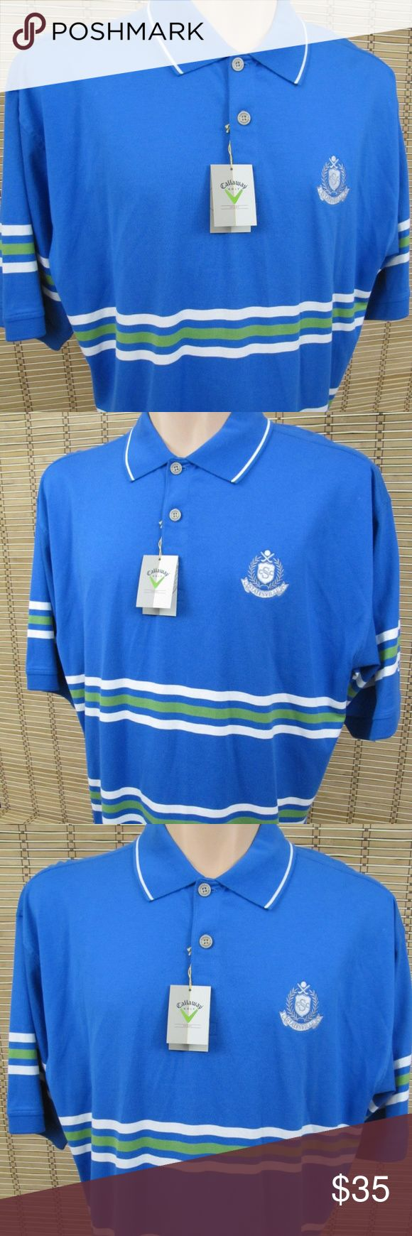 "NWT Callaway Golf Sport Mens Sz L Golf Polo Shirt Inventory # C011  Brand:  Callaway Golf Sport  Condition: This item is NWT in Very Good Condition! There are NO Major Flaws with this item, and is Free and Clear Of any Noticeable Stains, Rips, Tears or Pulls of fabric.  Item Specifics: NWT, Embroidered Logo on Sleeve, Striped, Short Sleeve Polo Shirt  Material: 100% Cotton  Color:  Blue, Striped – See Photos  Size: Men's L   Pit to Pit (Across Chest):  24.5""  Length (Top of Collar to Hem)…"