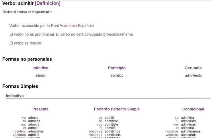 Onoma es una excelente página educativa que nos sirve para ver la conjugación de cualquier verbo en español y analizar formas verbales conjugadas.