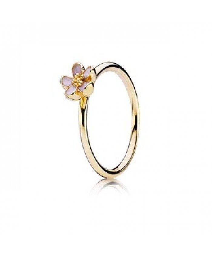 pandora gold flower ring silver bracelet pandora