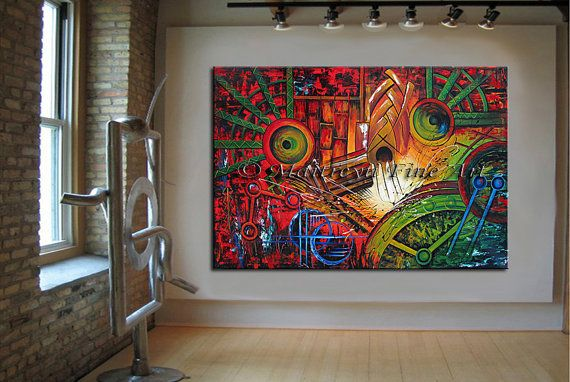 Oversized Wall Art Ideas: Xxl LARGE Artwork Sunset Red Abstract Art Modern Acrylic