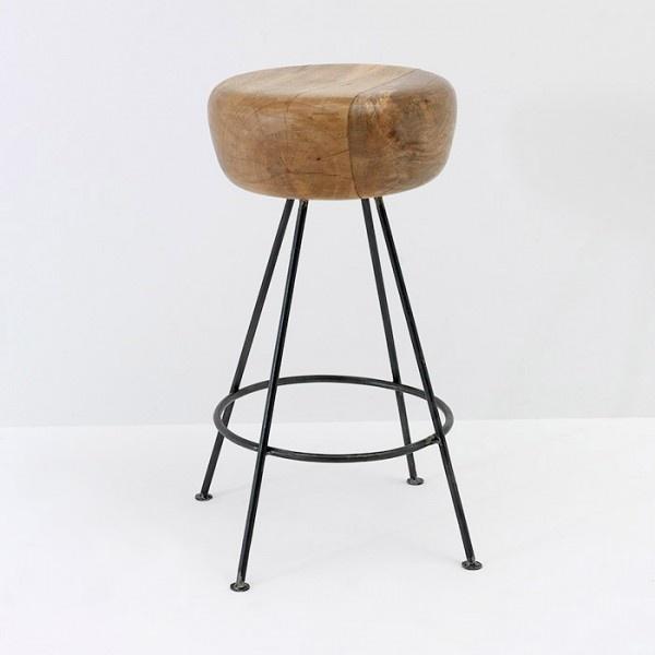 Taburete 36x73, metal y madera natural