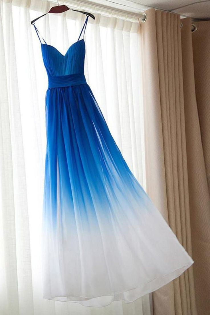 Spaghetti Strap Royal Blue Ombre Brautjungfernkleider, Chiffon