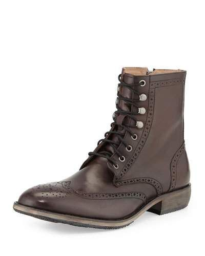 ANDREW MARC HILLCREST LEATHER WING-TIP BOOT, LEAD/BLACK. #andrewmarc #shoes #boots