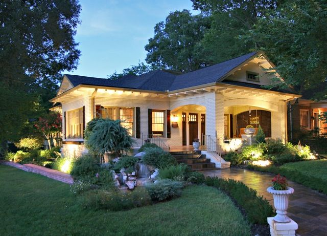 Pretty Old Houses: House Colors: Painted Brick with Dark Trim * also what a difference exterior lighting can make. consider cans in the soffits for downlighting
