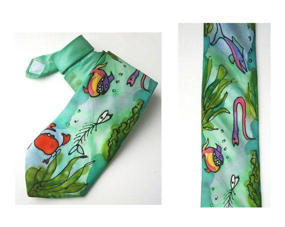 Handmade tie painted by hand mint fish sea mens by MensSilk