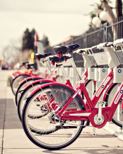 bicycle photograph / bike, red, city, denver, lined up / mile high bikes / 8x10 fine art photo