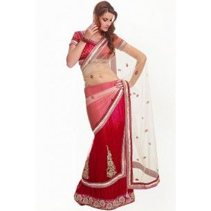 Shop Now - http://www.valehri.com/embellished-off-white-lehenga-style-saree
