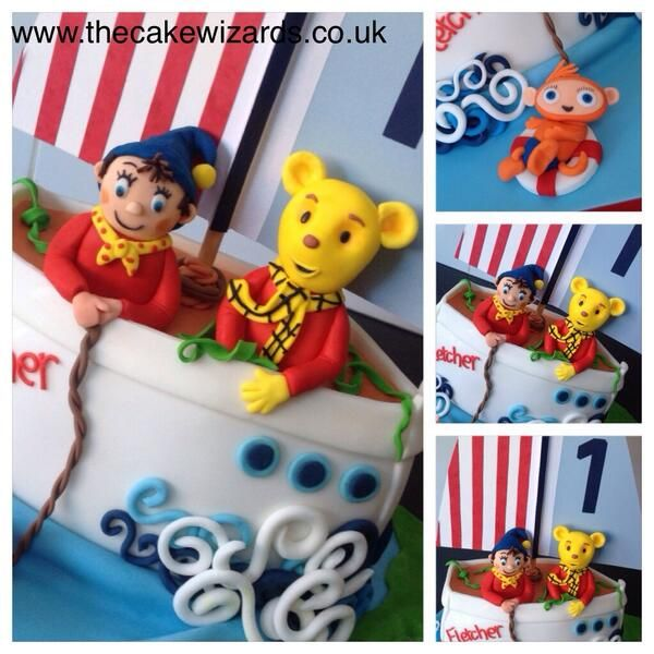 The Cake Wizards @kellyemmaellis   A boat for Fletcher with noddy, Rupert bear and waybuloo!!