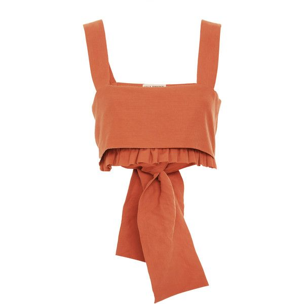 Ulla Johnson Talia Ruffle Tank featuring polyvore, women's fashion, clothing, tops, neutral, ruffle top, strappy tank, thick strap tank top, ruffle tank top and red ruffle top