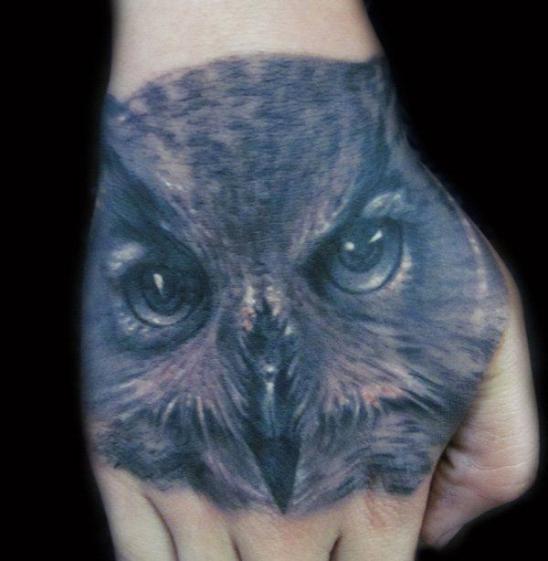 Owl Tattoo on hand - 55 Awesome Owl Tattoos  <3 <3