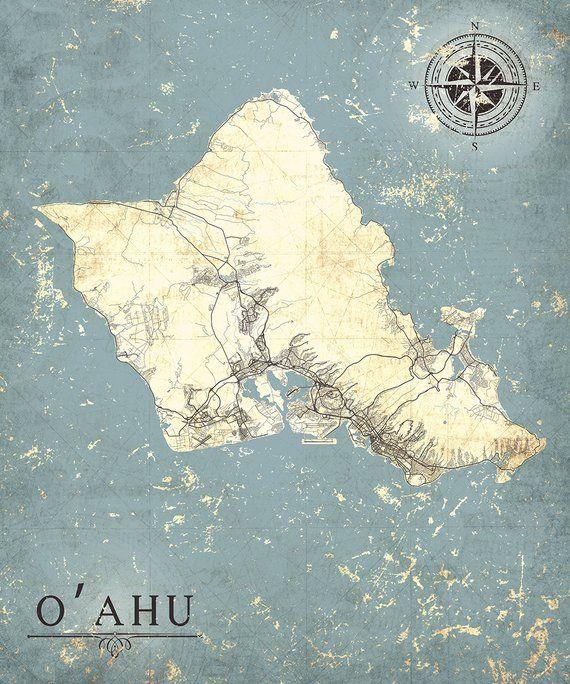 photograph regarding Printable Map of Oahu named OAHU Island Good day Canvas Print OAhu Hawaii Basic map Oahu