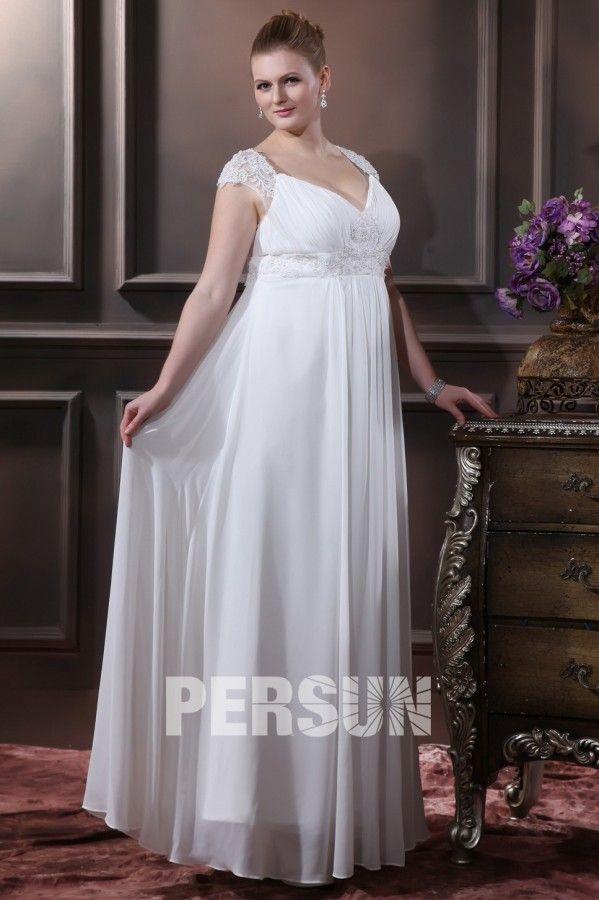 Robe de mariée grande taille empire ligne-A col en v appliques dentelle en mousseline de soie