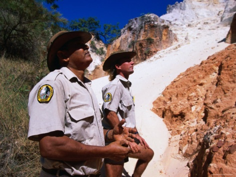 Rangers at the Coloured Sands of Hopevale on the Cape York Peninsula