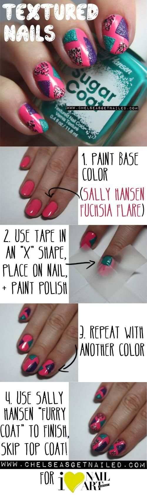 Pink glittery emoji nail art 183 how to paint a glitter - Easy Tutorial On How To Create Textured Nail Art