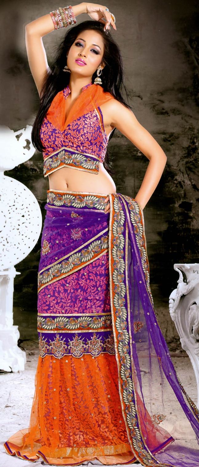 Purple & Orange Net Brasso Lehenga Style Saree with Blouse