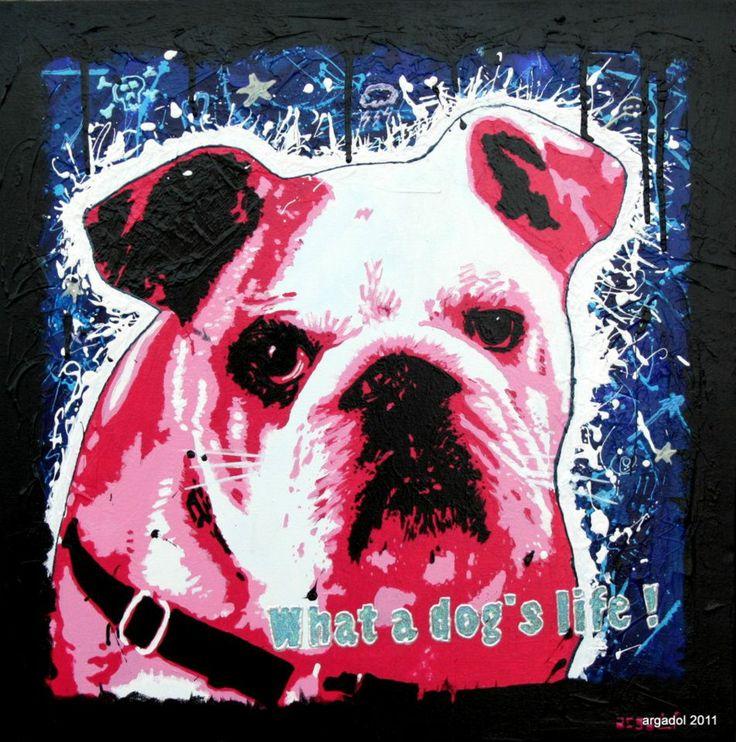 WHAT A DOGS' LIFE ! Technique mixte sur toile coton de 60cm x 60cm x 4cm