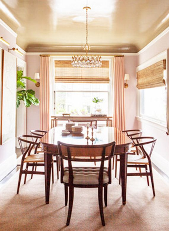 pale pink dining room // lonny//it is the gold ceiling that makes this room sophisticate!