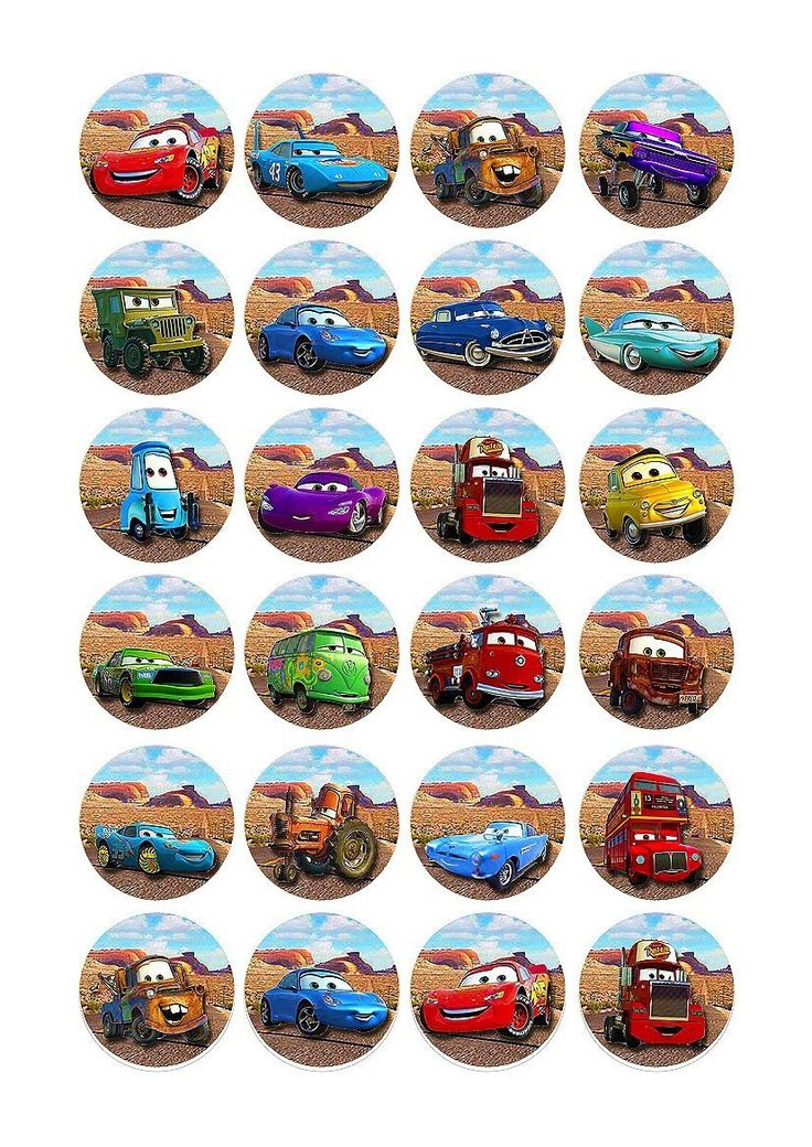 24 X Disney Pixar Cars Edible Birthday Cupcake Cake