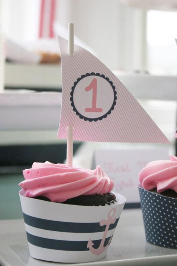 Darling nautical cupcakes at this Sailor Girl + Navy Birthday Party