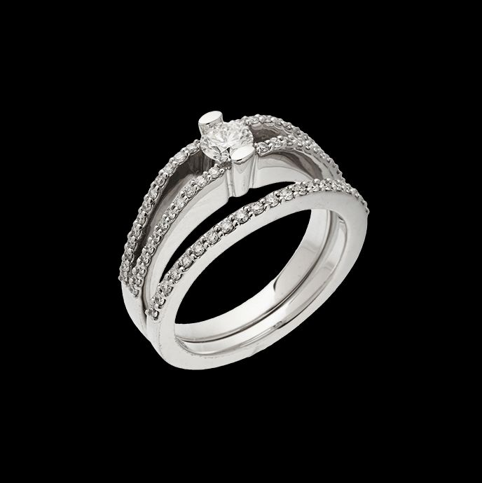 """""""Athena"""" is the Greek goddess of wisdom, courage, inspiration. This ring has a 0.30 carat round brilliant center diamond."""