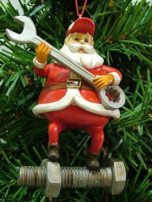 Man Plumber Wrench Santa Claus Christmas Tree Ornament
