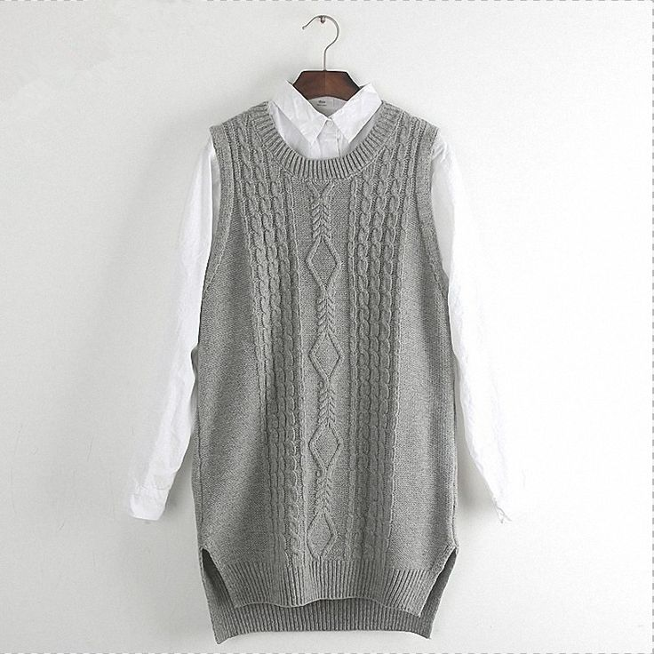 Women Tank Top Knitted Waistcoat Girls Casual Solid Long Split Sleeveless Ribbed O-neck Pullover Cable Sweater Vest Female Gray