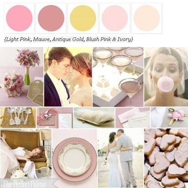 Mauve, peach, blush pink, ivory, copper rose & antique gold wedding ideas