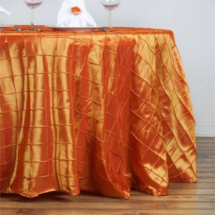 """132"""" Wholesale Orange Round Pintuck Tablecloths For Wedding Party Event Decoration"""