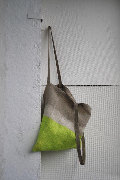 Дизайн и изготовления - Елена Ква. Льняная сумка Жёлтый неон.
