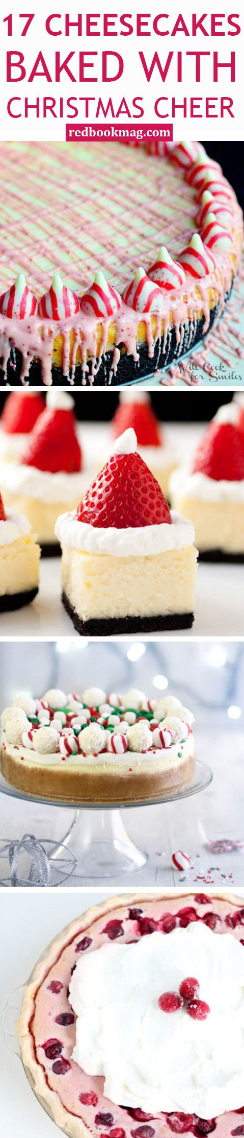 CHRISTMAS CHEESECAKE RECIPES: These luscious, creamy cakes (and mini cakes, too!) are the perfect way to indulge this holiday season. Here you'll find easy and delicious recipes for Christmas Candy Cheesecake, Eggnog Cheesecake Truffles, Cranberry Cheesecake Pie, and more! Use these holiday recipes for family dinners, festive holiday meals, and all your holiday get-togethers!
