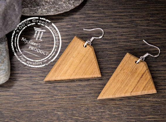 Unique Earrings. Pair of Earrings made out of reclaimed teak wood. Handmade and handcut.  In natural color, finished with ecological wood oil.  You won't believe how lightweight these are!!!