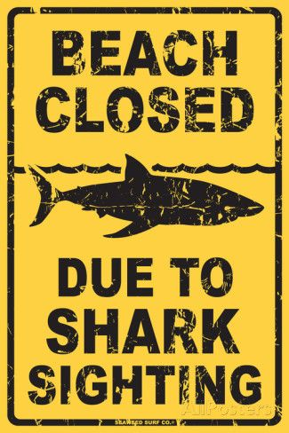 19.99 Beach Closed Due to Shark Sighting Tin Sign at AllPosters.com