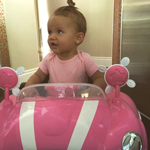 Alijah Baskett from Cutest Celeb Kids on Instagram  Kendra and Hank's daughter is just too cute while posing in her new toy car.