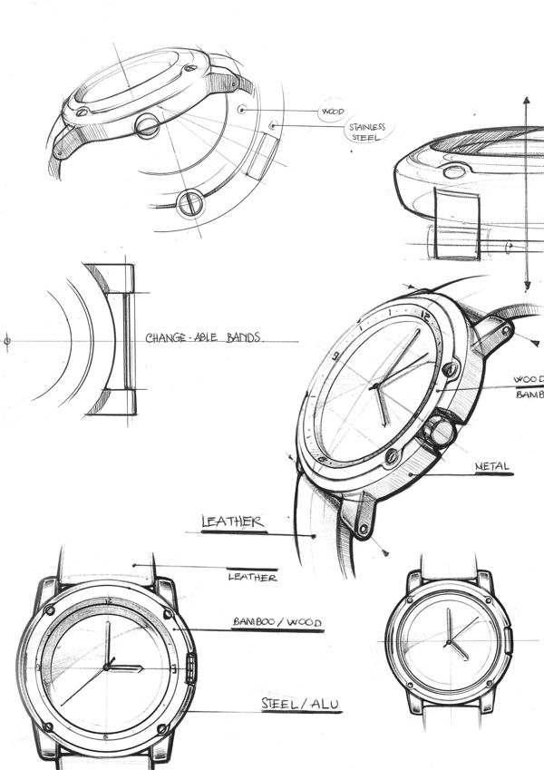Well organized callouts and clean sketch style -VOOC Watch Design on Behance