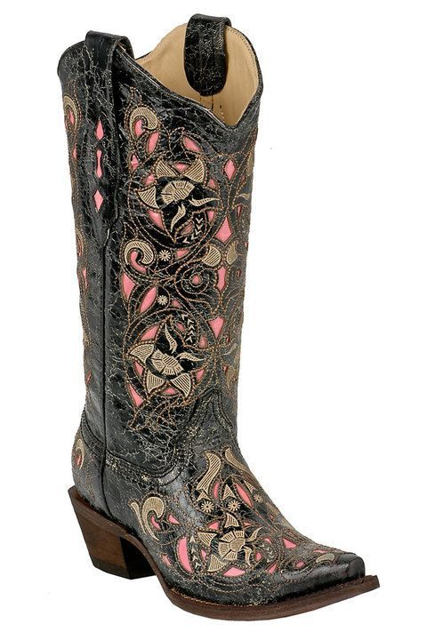 Corral Distressed Black/Brown And Pink Cowgirl Boot  #cowgirl #countrygirl #boots #cowgirlboots #cowgirlshoes  http://www.islandcowgirl.com/